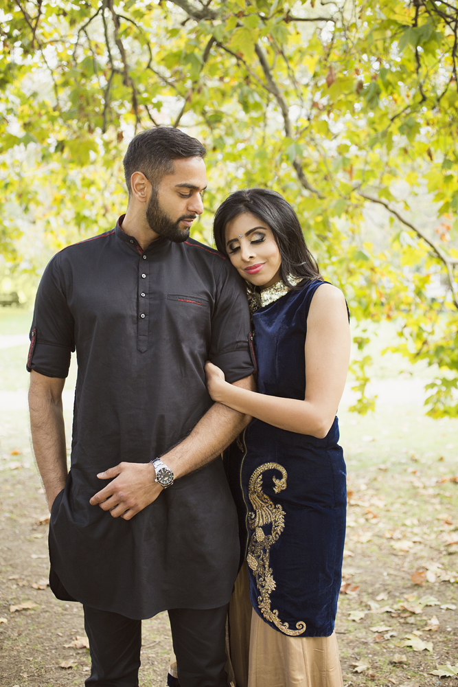 ana gely female asian wedding photographer engagement london autumn bride and groom st james park