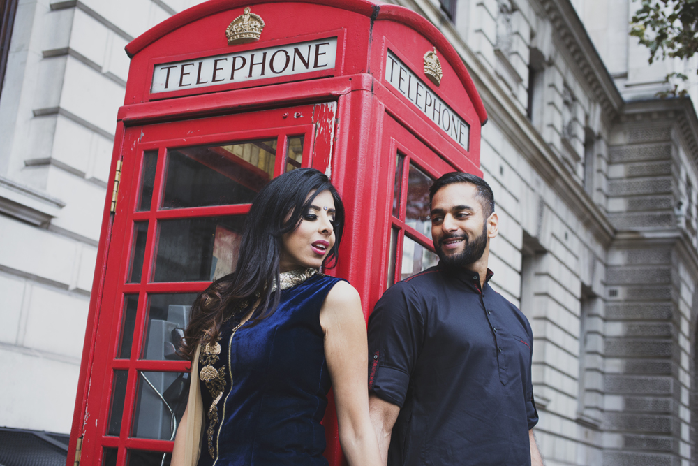 ana gely female asian wedding photographer engagement london city autumn indian bride and groom westminster red telephone box