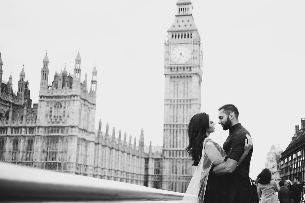 ana gely female asian wedding photographer engagement london city autumn indian bride and groom westminster big ben