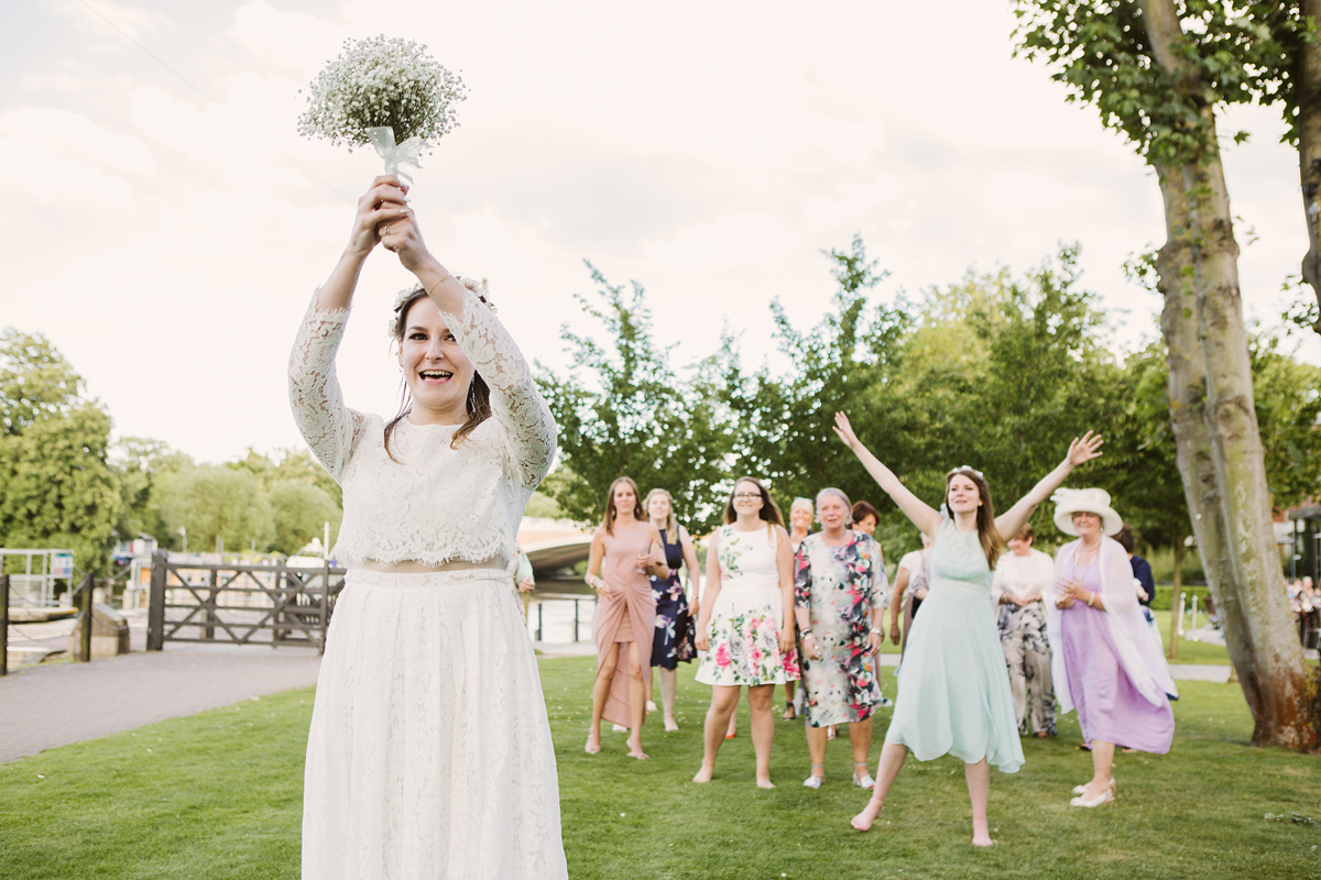 ana gely wedding photography photographer london runnymede on thames bouquet toss