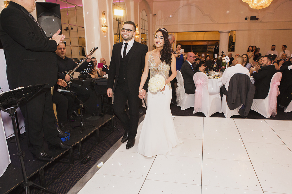 ana gely turkish engagement photography london grand palace banqueting suite bride groom entrance