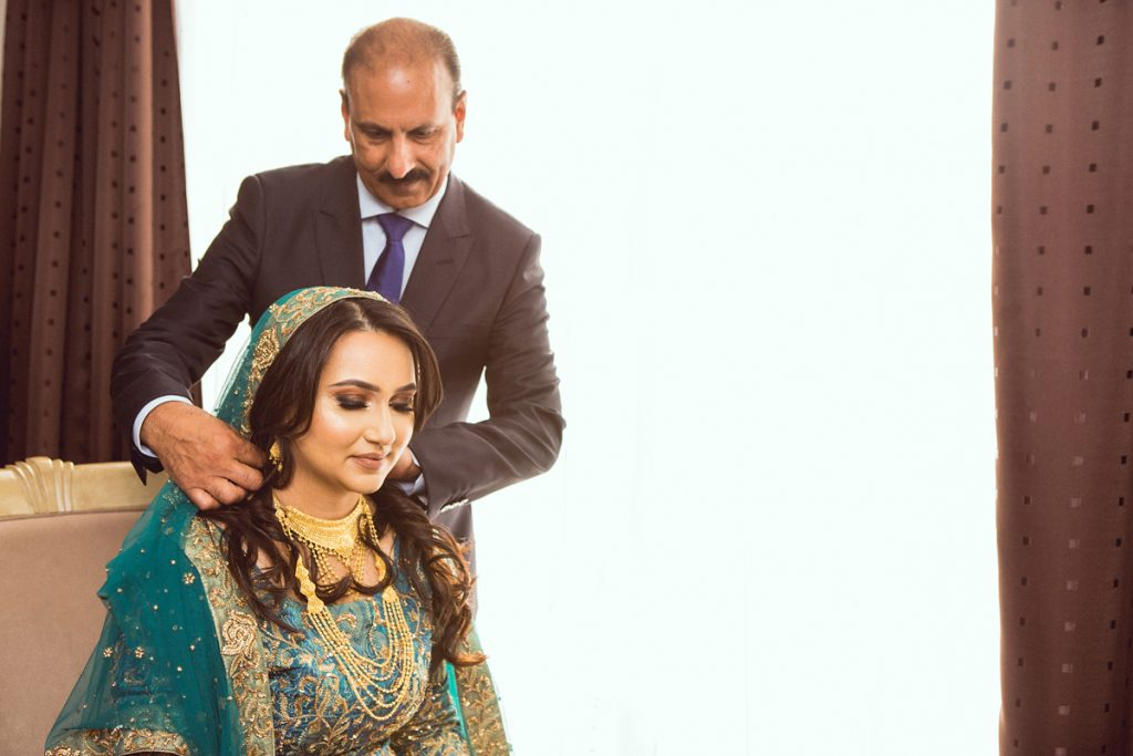 ana gely london female asian wedding photographer hilton syon park summer bride getting ready with father