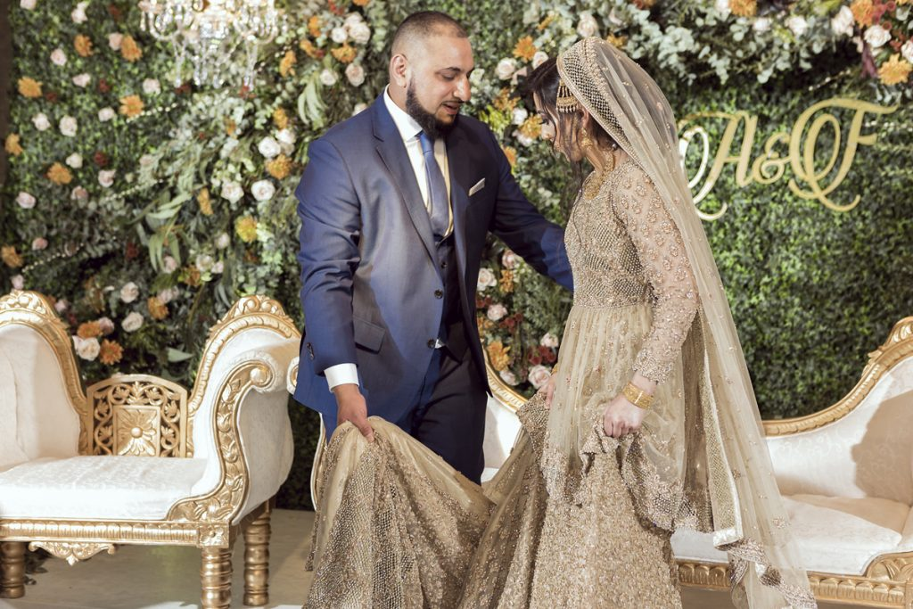 Ana Gely A photography London female asian wedding photographer Jumeirah Carlton bride and groom stage